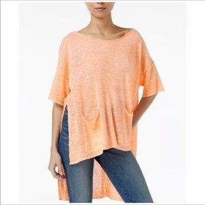 NEW Free People Neon Linen High Low Knit Tunic Top